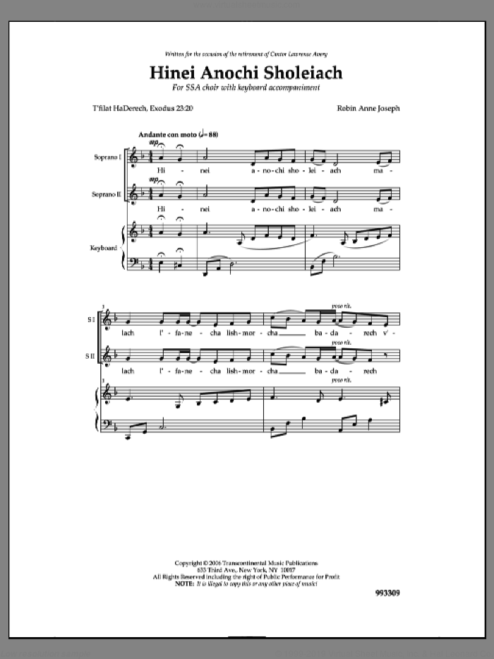 Hinei Anochi Sholei'ach sheet music for choir by Robin Anne Joseph. Score Image Preview.