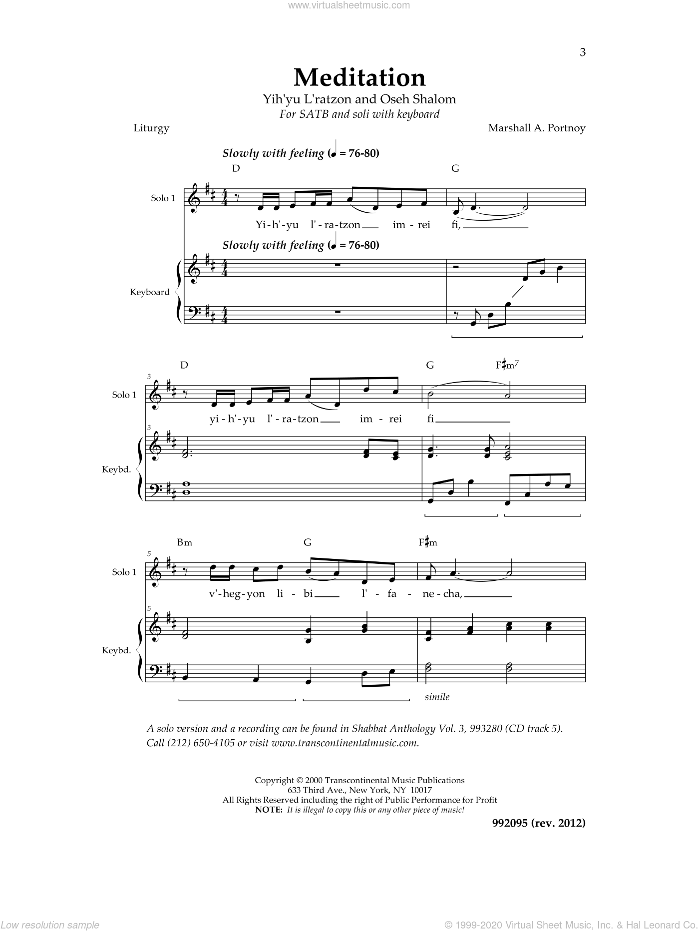Meditation sheet music for choir and piano by Marshall Portnoy