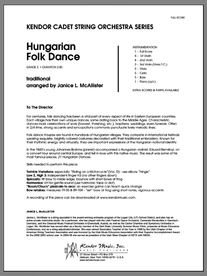 Hungarian Folk Dance (COMPLETE) sheet music for orchestra by Janice McAllister, classical score, intermediate skill level