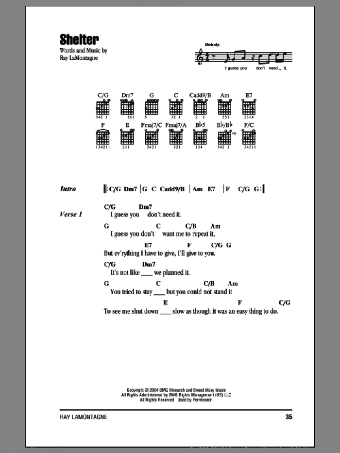 Lamontagne Shelter Sheet Music For Guitar Chords Pdf