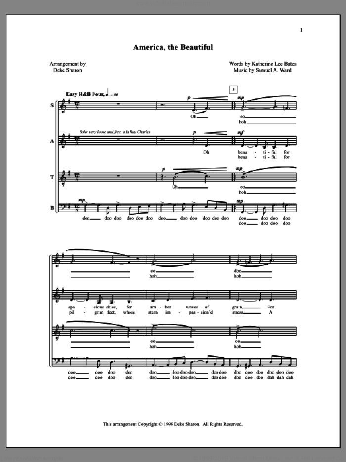 America, the Beautiful sheet music for choir by Deke Sharon, Anne Raugh, Katherine Lee Bates and Samuel Augustus Ward, intermediate choir. Score Image Preview.