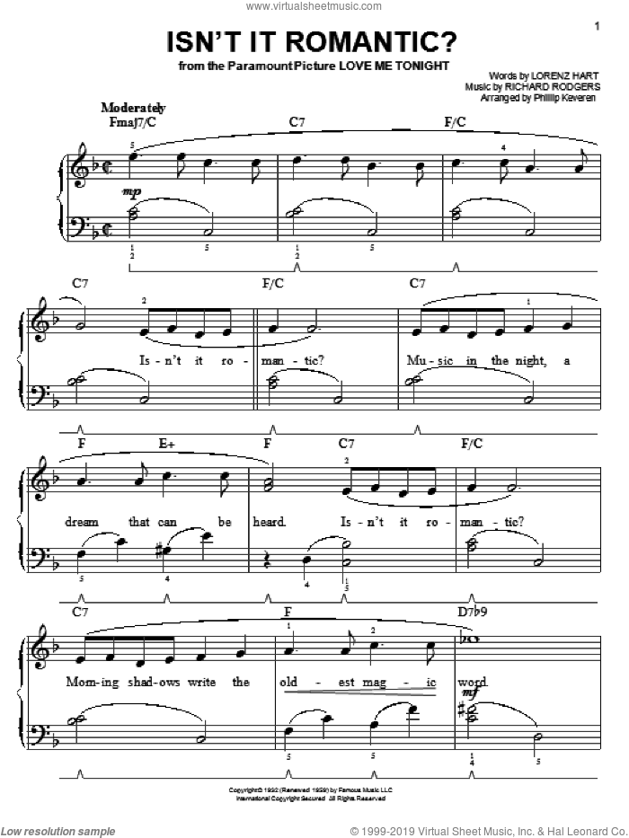 Isn't It Romantic? sheet music for piano solo by Rodgers & Hart, Phillip Keveren, Lorenz Hart and Richard Rodgers, easy piano. Score Image Preview.