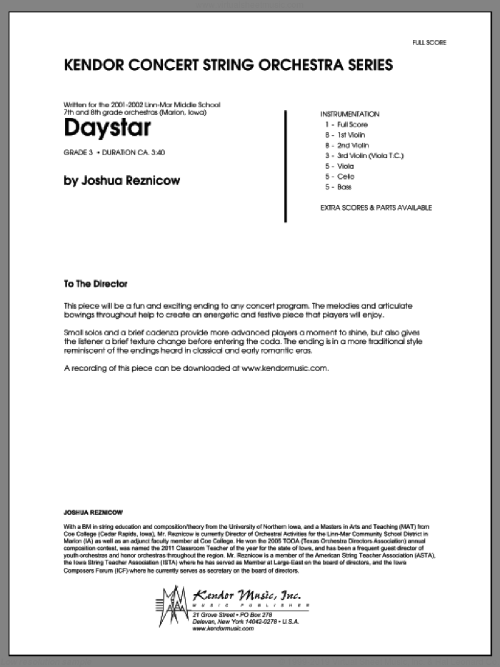 Daystar (COMPLETE) sheet music for orchestra by Joshua Reznicow, classical score, intermediate