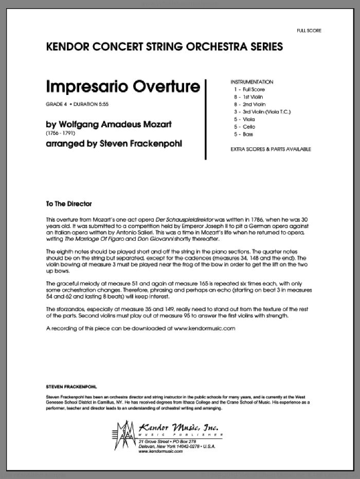 Impresario Overture (COMPLETE) sheet music for orchestra by Wolfgang Amadeus Mozart and Steve Frackenpohl, classical score, intermediate orchestra. Score Image Preview.