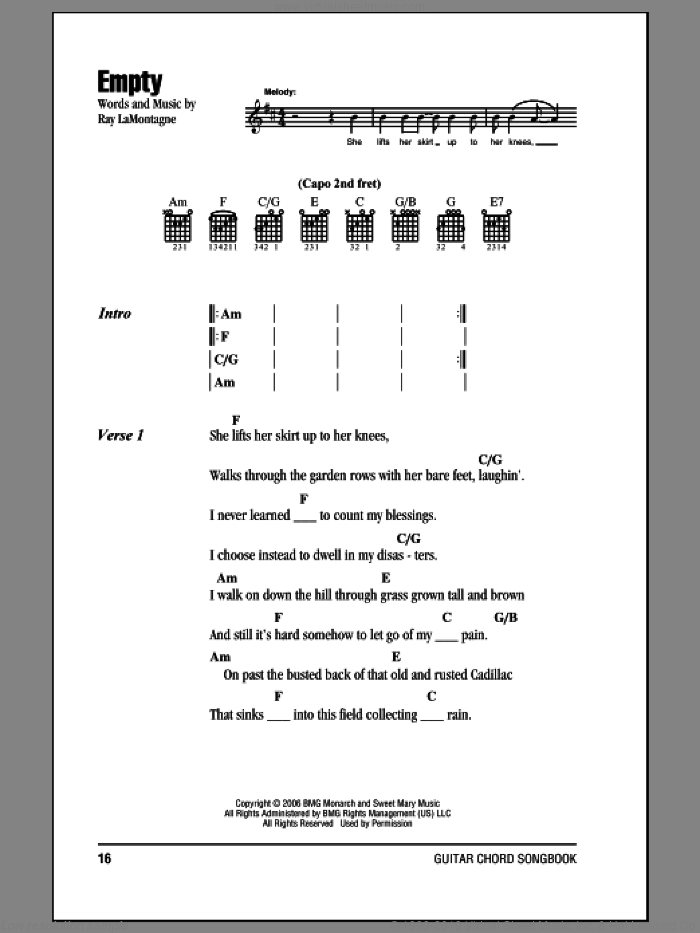 Empty sheet music for guitar (chords) by Ray LaMontagne, intermediate. Score Image Preview.