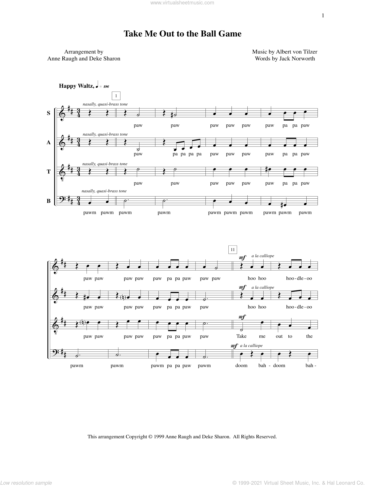 Take Me Out To The Ball Game sheet music for choir by Deke Sharon, Albert von Tilzer, Anne Raugh and Jack Norworth, intermediate