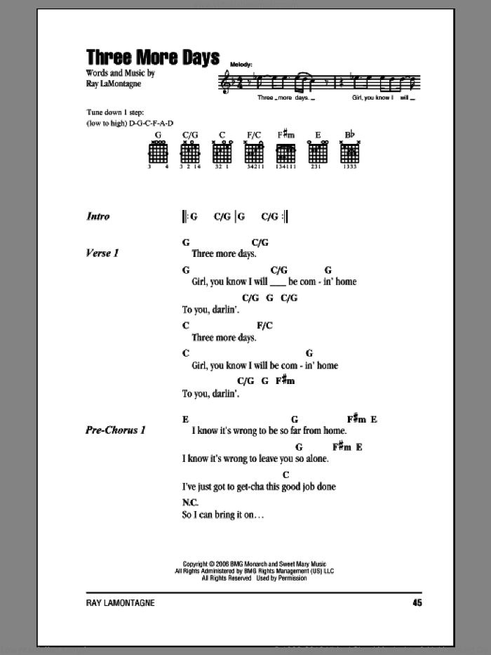 Three More Days sheet music for guitar (chords) by Ray LaMontagne, intermediate. Score Image Preview.