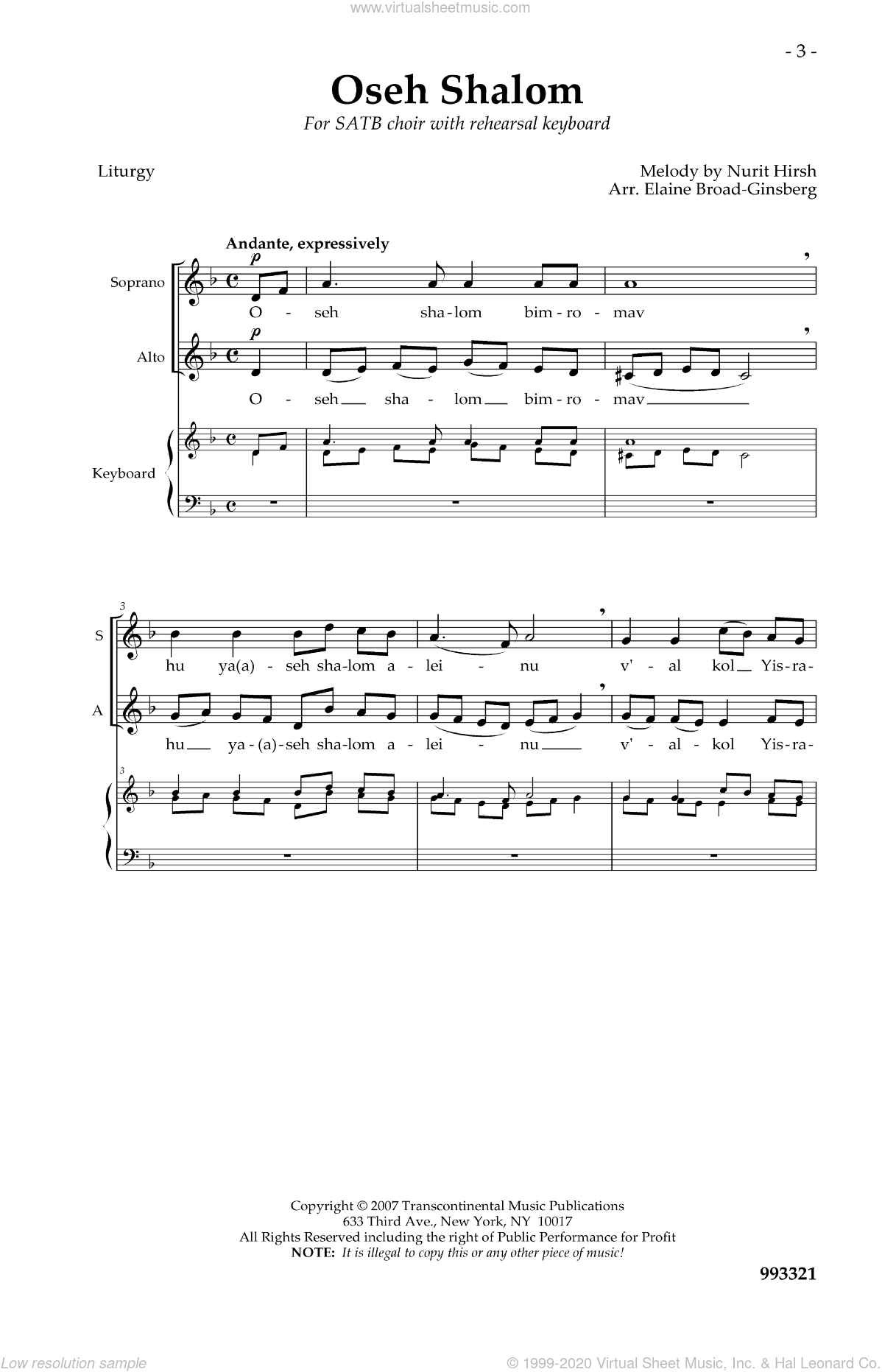 Oseh Shalom sheet music for choir and piano by Elaine Broad-Ginsberg