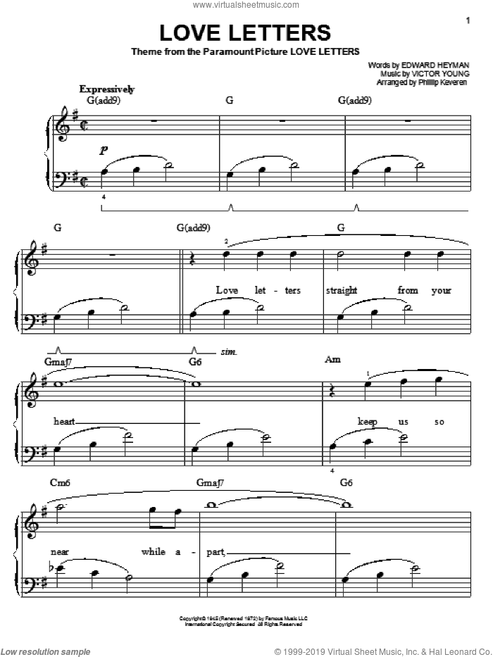 Love Letters sheet music for piano solo by Edward Heyman, Phillip Keveren, Diana Krall, Elvis Presley and Victor Young, easy skill level