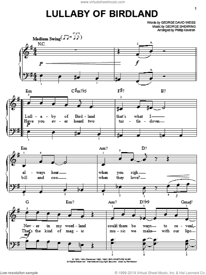 Lullaby Of Birdland sheet music for piano solo by George David Weiss, Phillip Keveren and George Shearing. Score Image Preview.