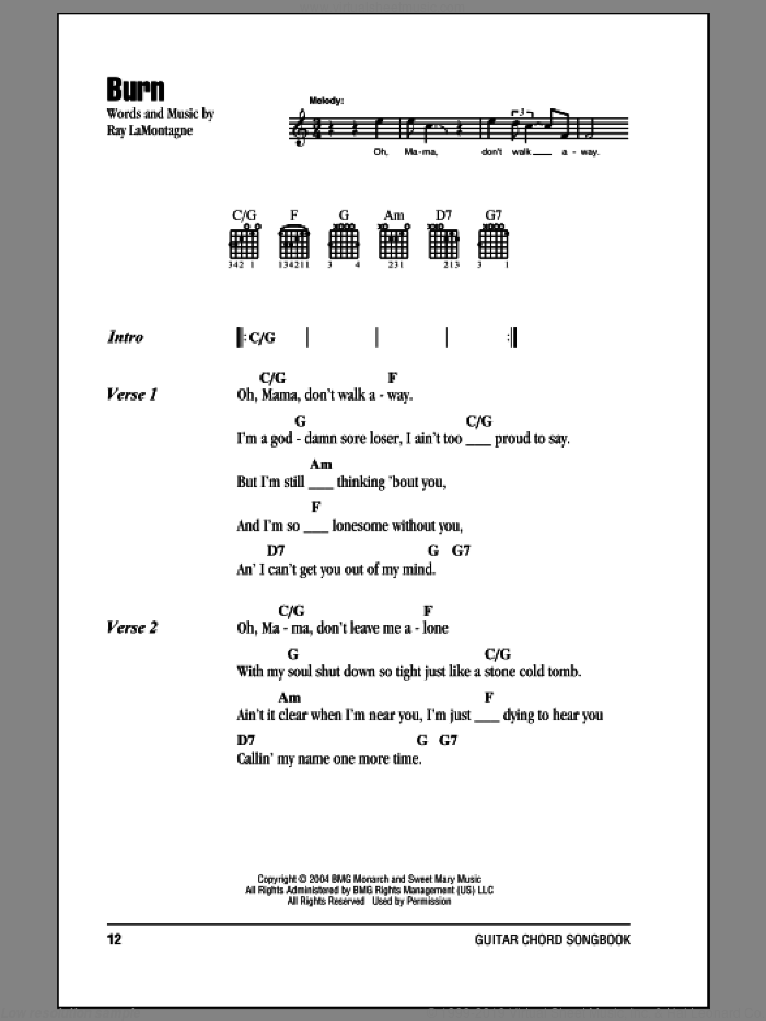 Burn sheet music for guitar (chords) by Ray LaMontagne, intermediate