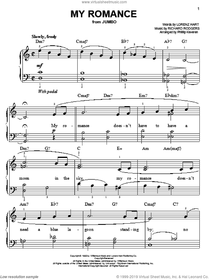 My Romance sheet music for piano solo by Rodgers & Hart, Phillip Keveren, Lorenz Hart and Richard Rodgers, easy skill level