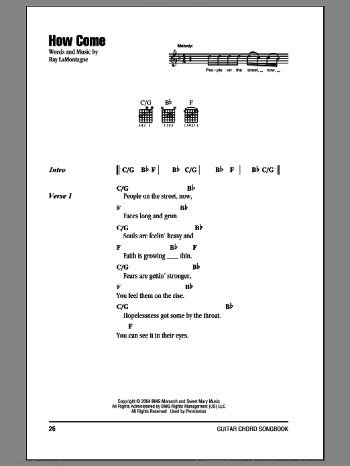 How Come sheet music for guitar (chords) by Ray LaMontagne, intermediate skill level