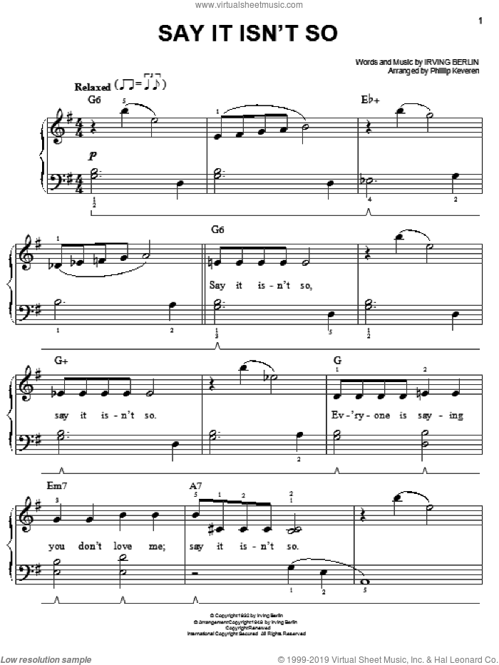 Say It Isn't So sheet music for piano solo by Irving Berlin and Phillip Keveren, easy skill level