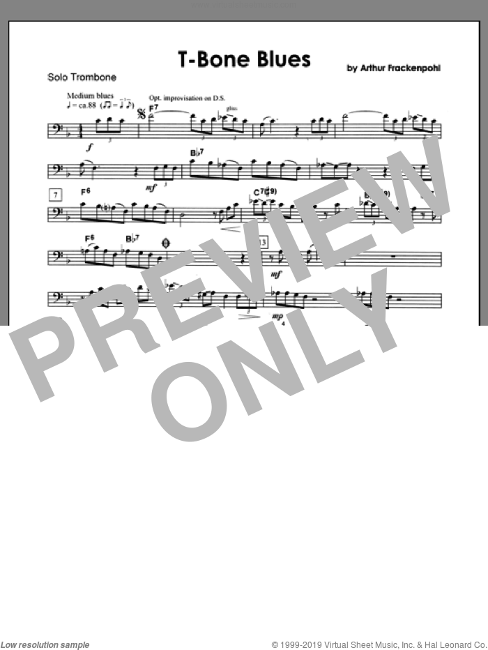 T-bone Blues (complete set of parts) sheet music for trombone and piano by Arthur Frackenpohl, intermediate skill level