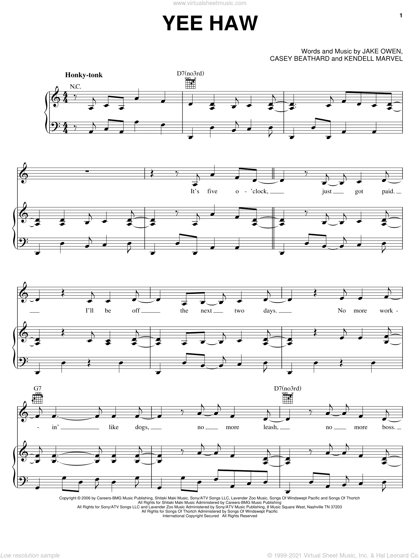 Yee Haw sheet music for voice, piano or guitar by Kendell Marvell, Casey Beathard and Jake Owen. Score Image Preview.