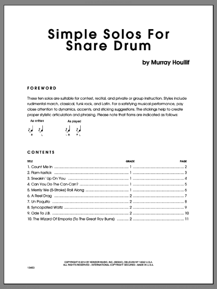 Simple Solos For Snare Drum sheet music for percussions by Houllif. Score Image Preview.