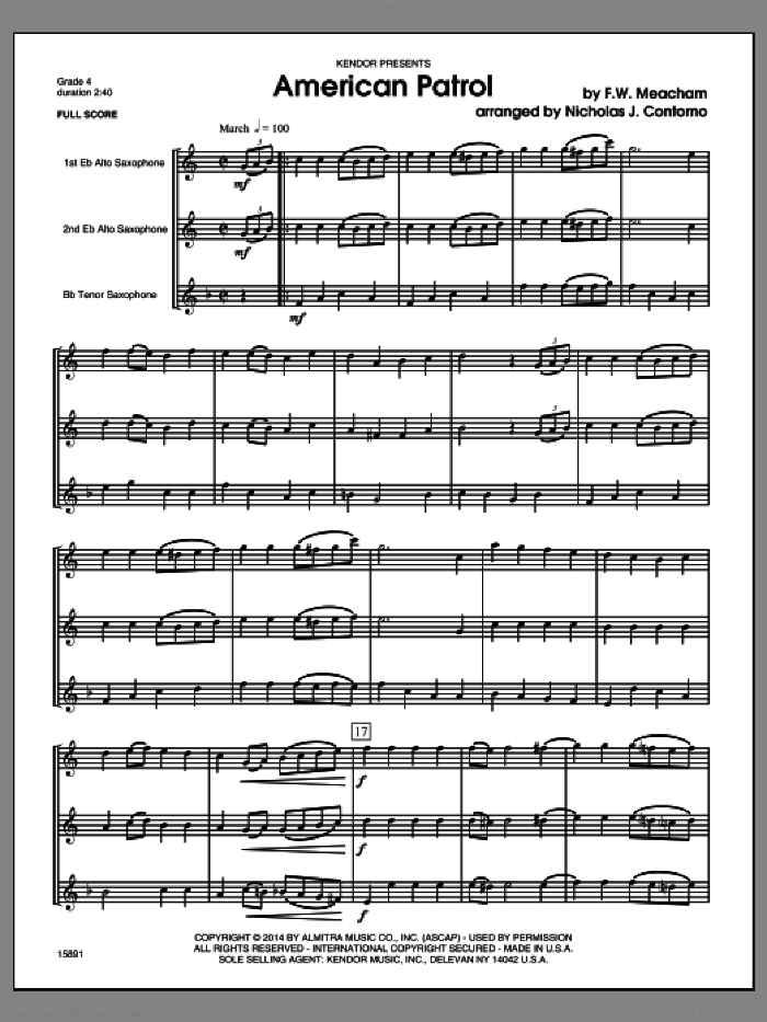 American Patrol (COMPLETE) sheet music for saxophone quartet by F.W. Meacham and Nick Contorno, classical score, intermediate. Score Image Preview.