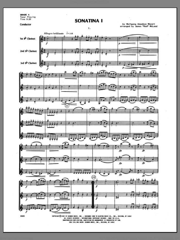 Sonatina I (COMPLETE) sheet music for clarinet trio by Wolfgang Amadeus Mozart and James 'Red' McLeod, classical score, intermediate