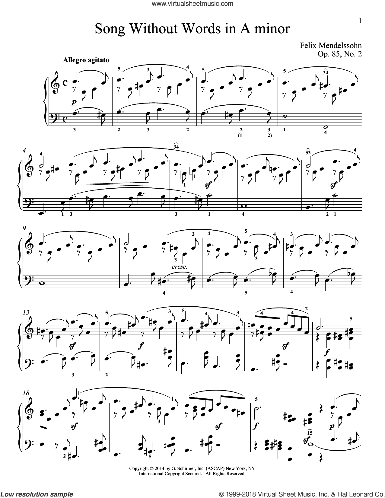 Song Without Words In A Minor, Op. 85, No. 2 sheet music for piano solo by Felix Mendelssohn-Bartholdy and Immanuela Gruenberg, classical score, intermediate skill level