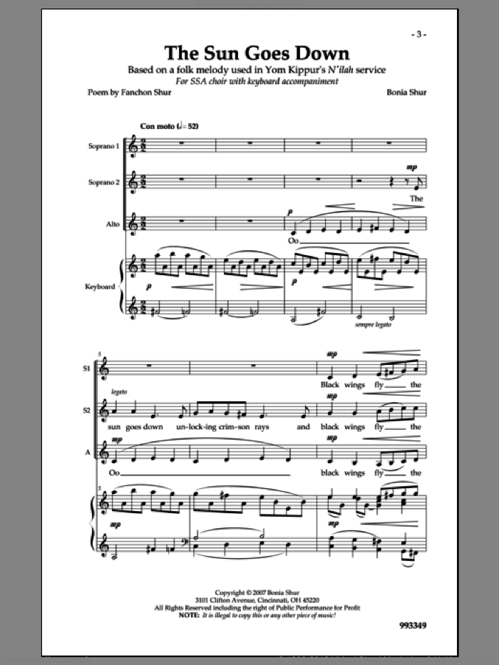 The Sun Goes Down sheet music for choir and piano by Bonia Shur