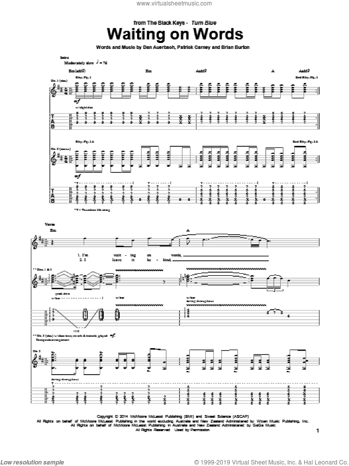 Waiting On Words sheet music for guitar (tablature) by The Black Keys, Brian Burton, Daniel Auerbach and Patrick Carney, intermediate skill level
