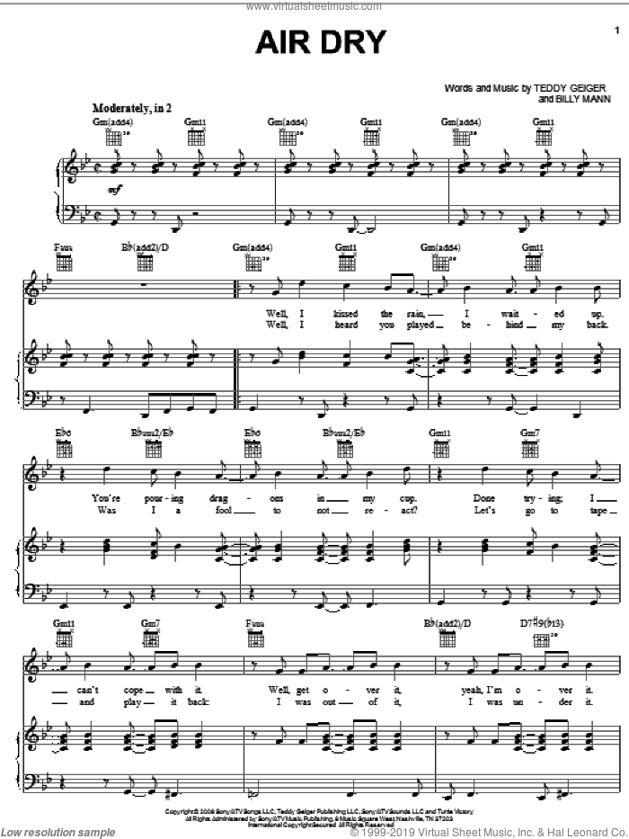 Air Dry sheet music for voice, piano or guitar by Billy Mann