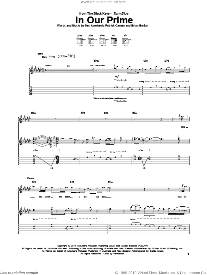 In Our Prime sheet music for guitar (tablature) by The Black Keys and Daniel Auerbach. Score Image Preview.