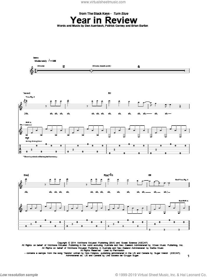 Year In Review sheet music for guitar (tablature) by The Black Keys, Brian Burton, Daniel Auerbach and Patrick Carney, intermediate skill level