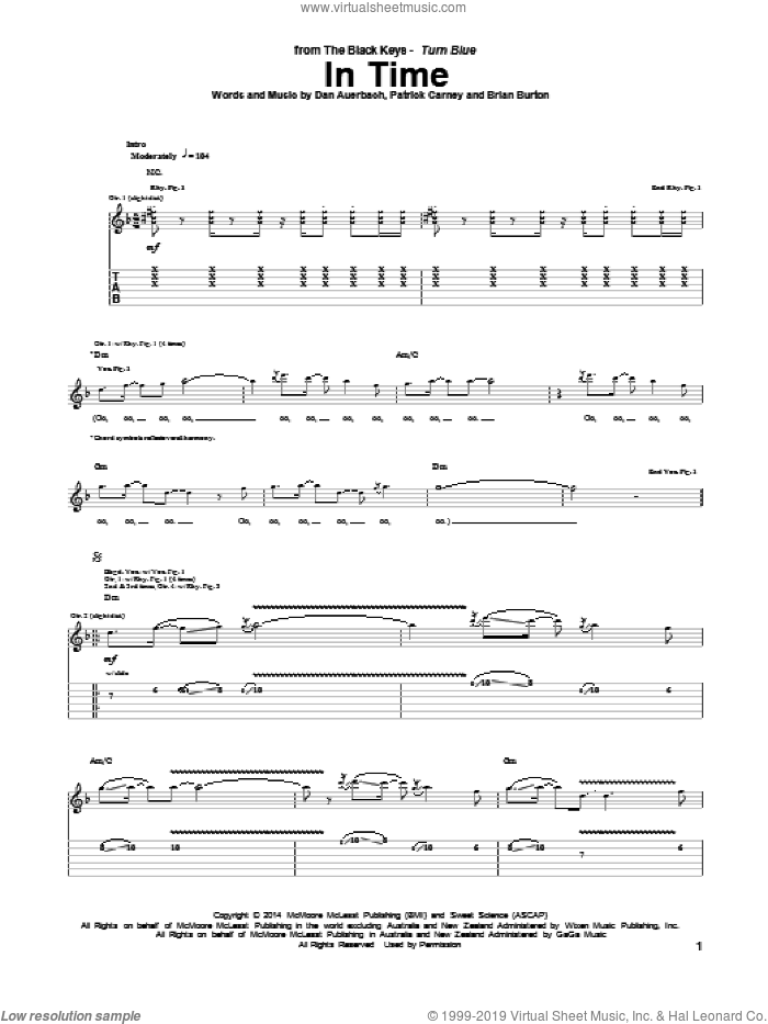 In Time sheet music for guitar (tablature) by Patrick Carney, Brian Burton and Daniel Auerbach. Score Image Preview.