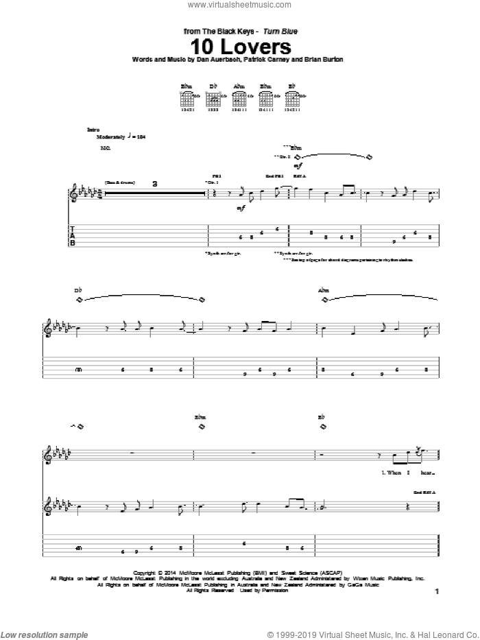 10 Lovers sheet music for guitar (tablature) by The Black Keys, Brian Burton, Daniel Auerbach and Patrick Carney, intermediate. Score Image Preview.
