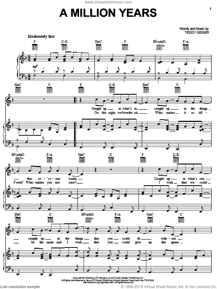 A Million Years sheet music for voice, piano or guitar by Teddy Geiger, intermediate skill level