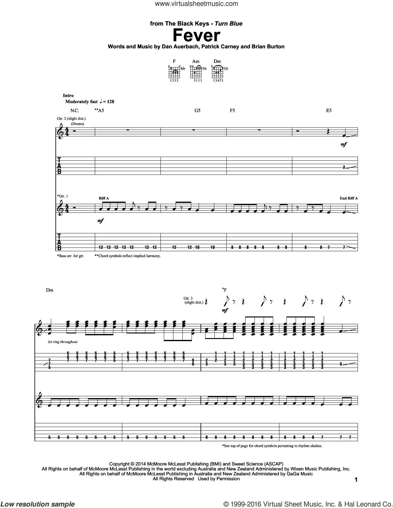 Fever sheet music for guitar (tablature) by The Black Keys and Daniel Auerbach. Score Image Preview.