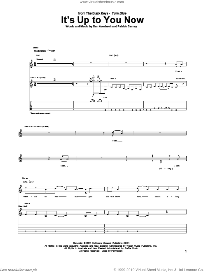 It's Up To You Now sheet music for guitar (tablature) by The Black Keys and Daniel Auerbach. Score Image Preview.