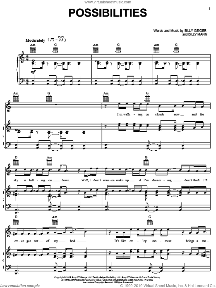 Possibilities sheet music for voice, piano or guitar by Teddy Geiger and Billy Mann, intermediate skill level