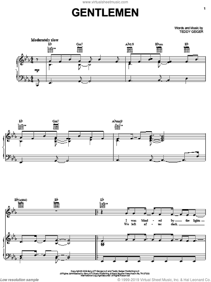 Gentlemen sheet music for voice, piano or guitar by Teddy Geiger, intermediate skill level