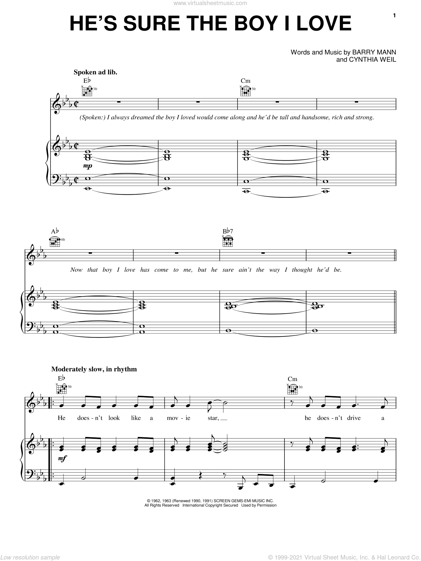 He's Sure The Boy I Love sheet music for voice, piano or guitar by Carole King, The Crystals, Barry Mann and Cynthia Weil, intermediate skill level