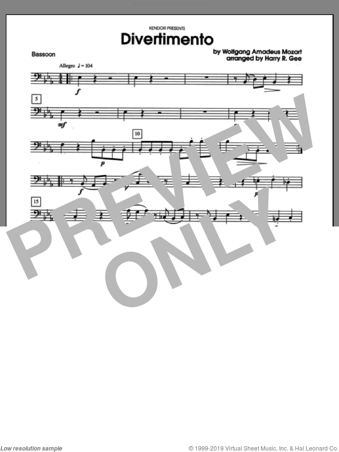 Divertimento sheet music for wind quartet (bassoon) by Wolfgang Amadeus Mozart and Harry Gee. Score Image Preview.