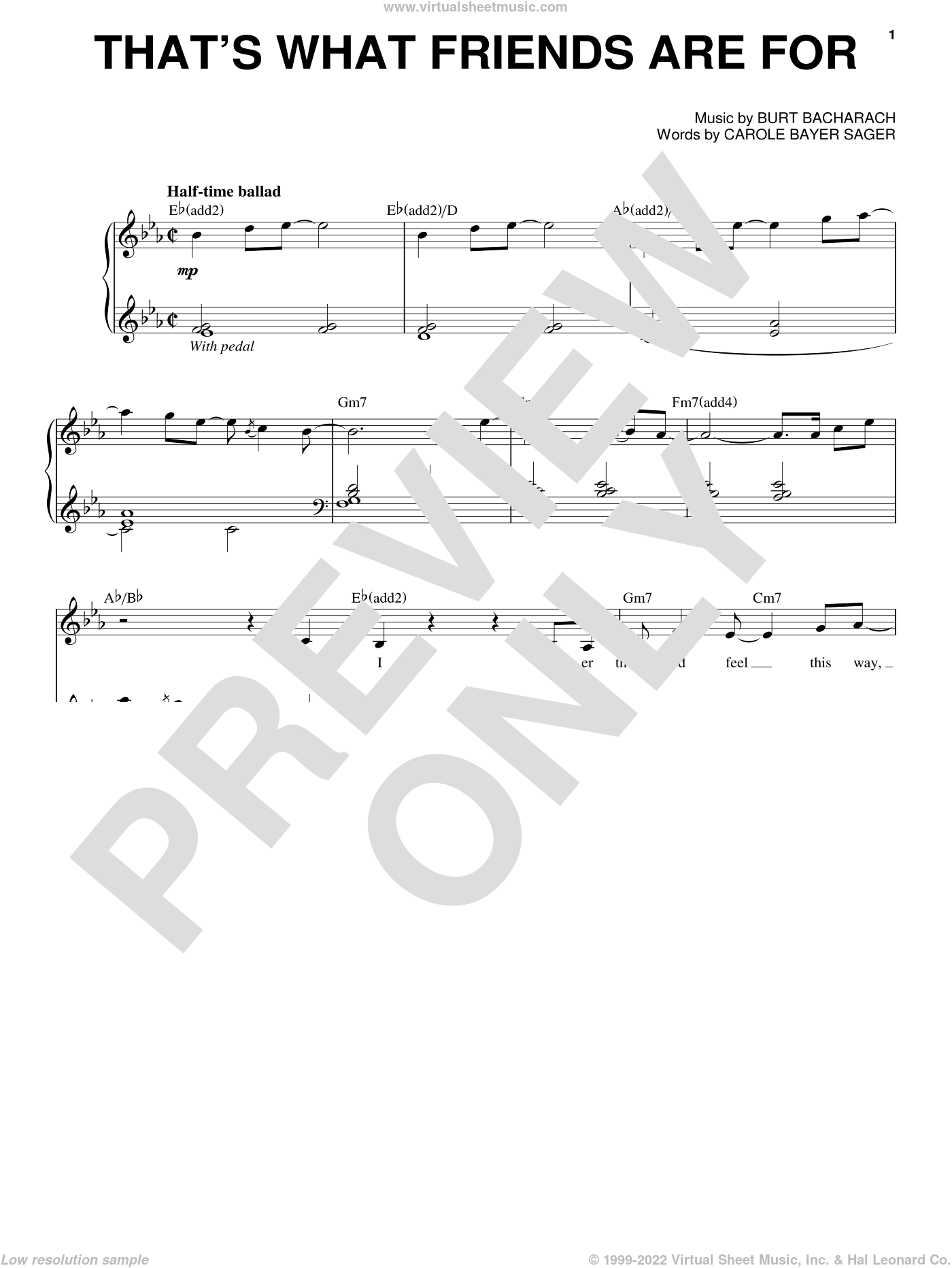 That's What Friends Are For sheet music for voice and piano by Dionne & Friends, Burt Bacharach and Carole Bayer Sager, intermediate skill level