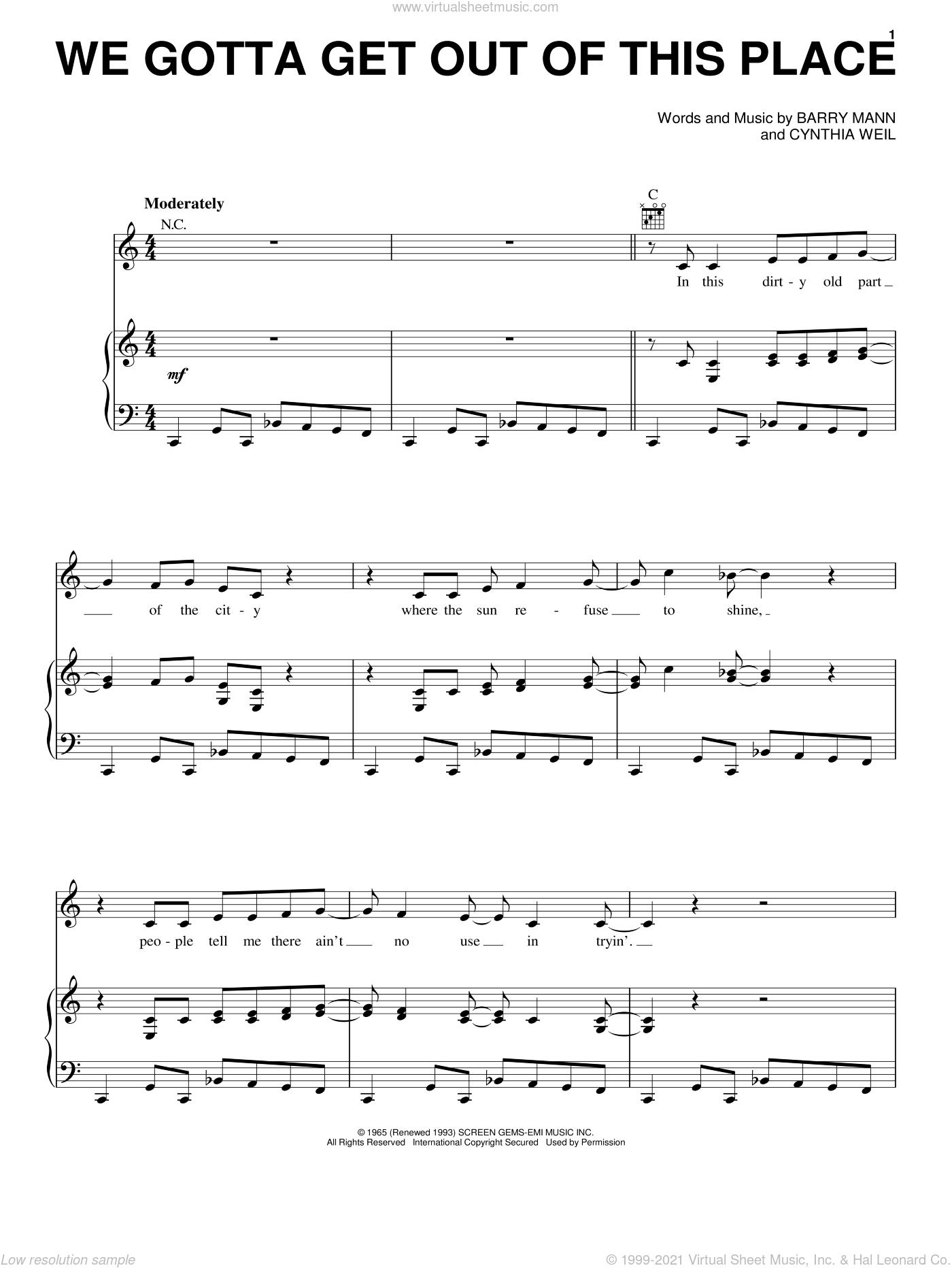 We Gotta Get Out Of This Place sheet music for voice, piano or guitar by Carole King, The Animals, Barry Mann and Cynthia Weil, intermediate skill level