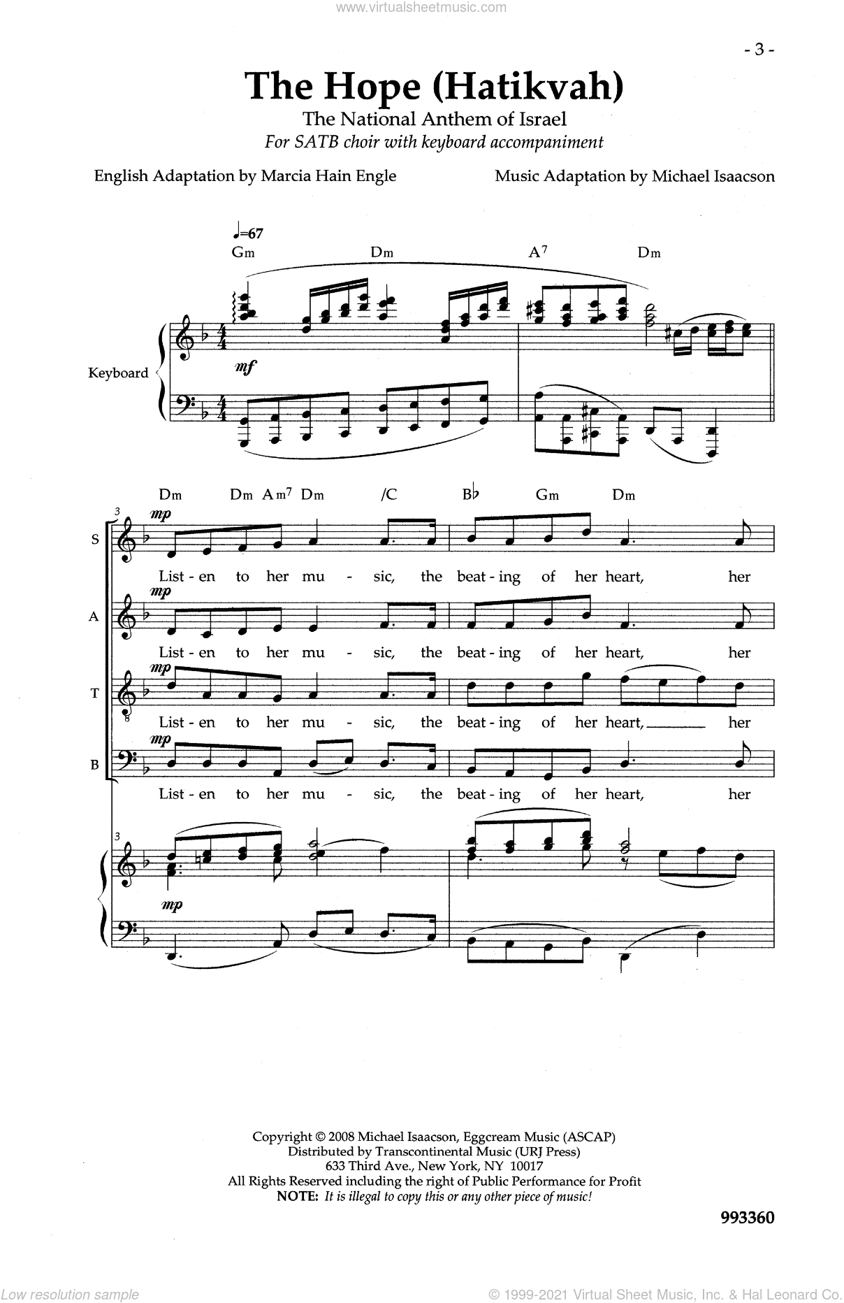 The Hope (Hatikvah) sheet music for choir by Michael Isaacson. Score Image Preview.