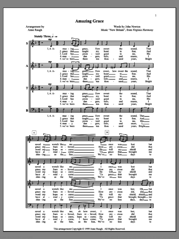 Amazing Grace sheet music for choir (SATB: soprano, alto, tenor, bass) by John Newton and Anne Raugh, classical score, intermediate skill level