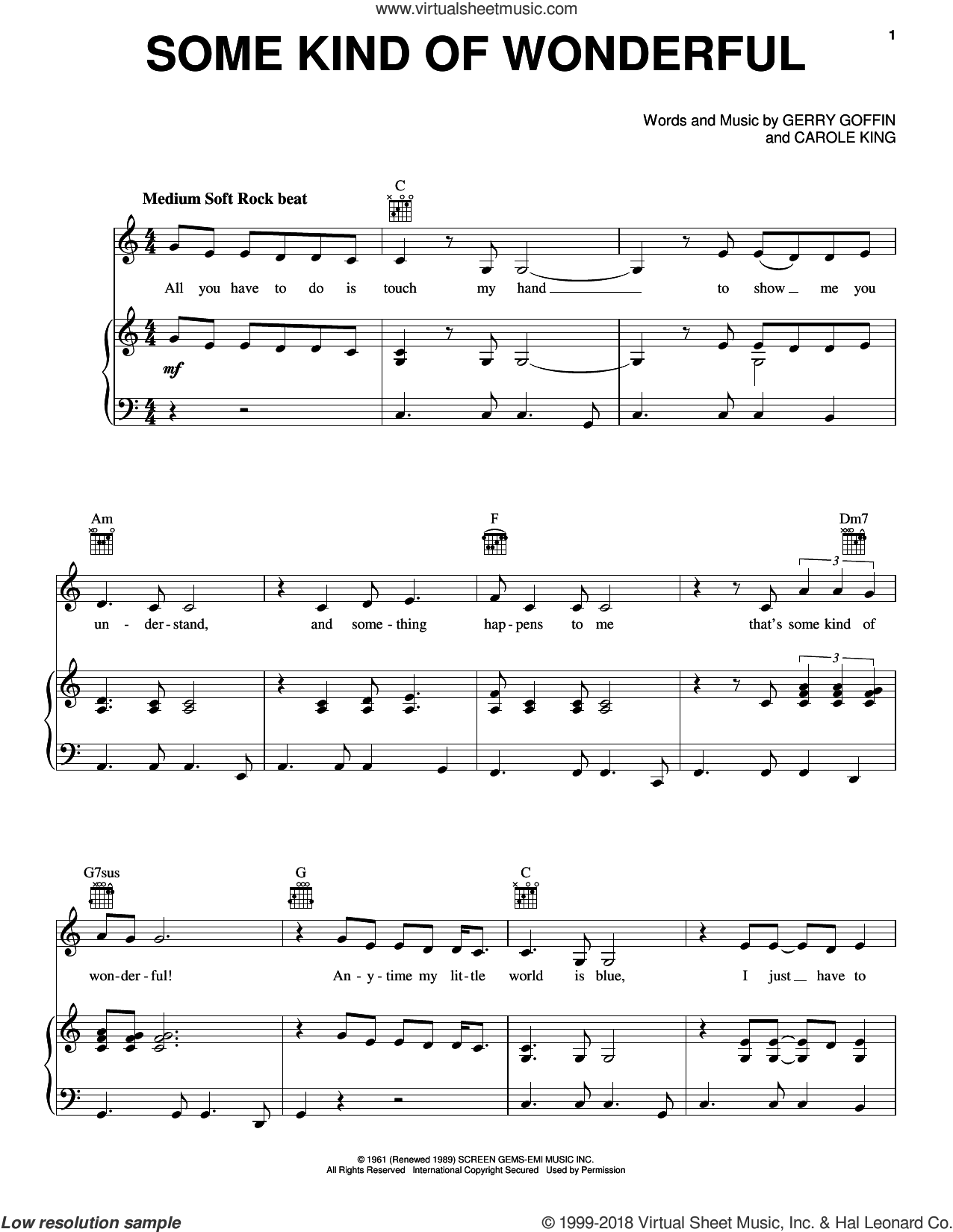 Some Kind Of Wonderful sheet music for voice, piano or guitar by Carole King and Gerry Goffin, intermediate skill level