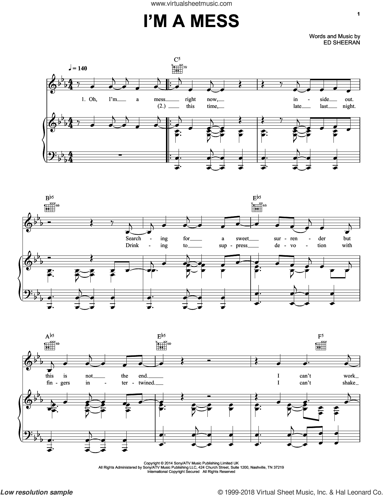 I'm A Mess sheet music for voice, piano or guitar by Ed Sheeran, intermediate skill level