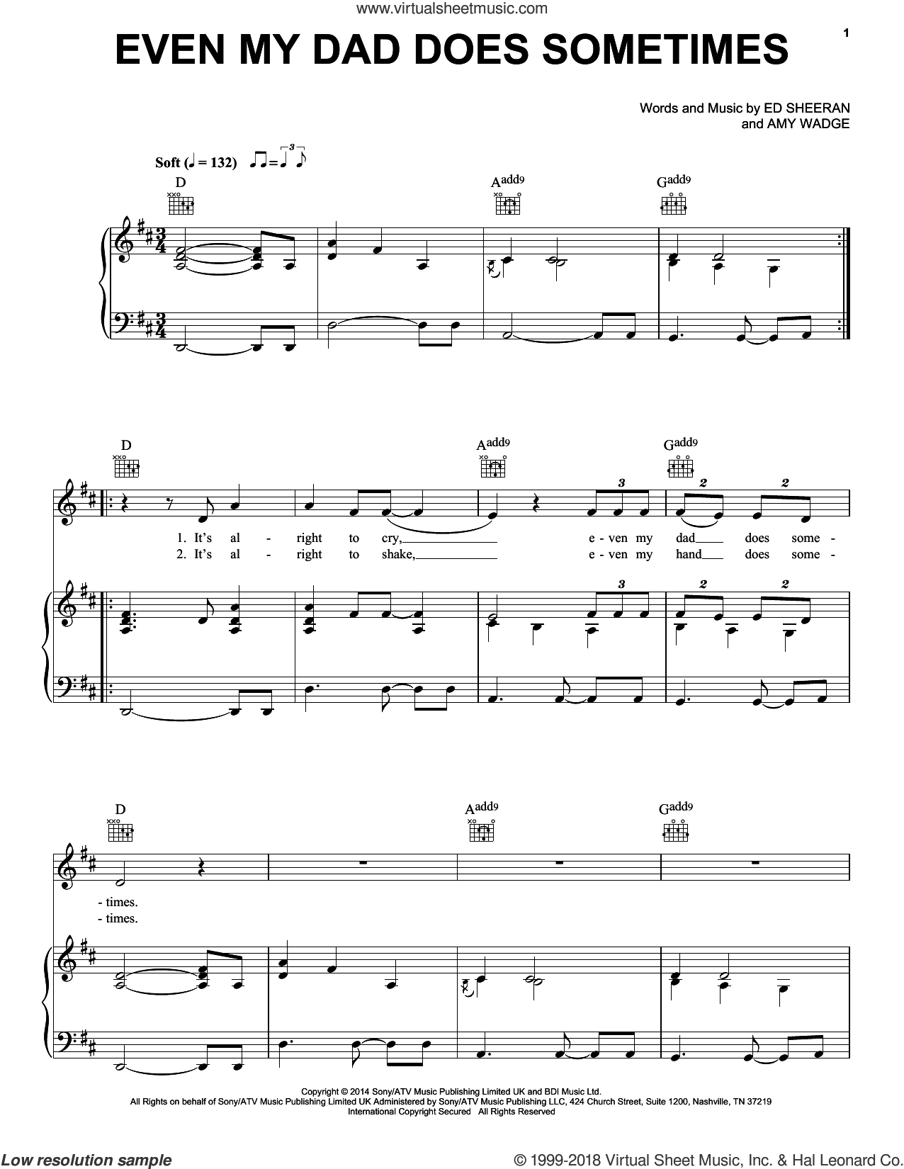 Even My Dad Does Sometimes sheet music for voice, piano or guitar by Ed Sheeran. Score Image Preview.