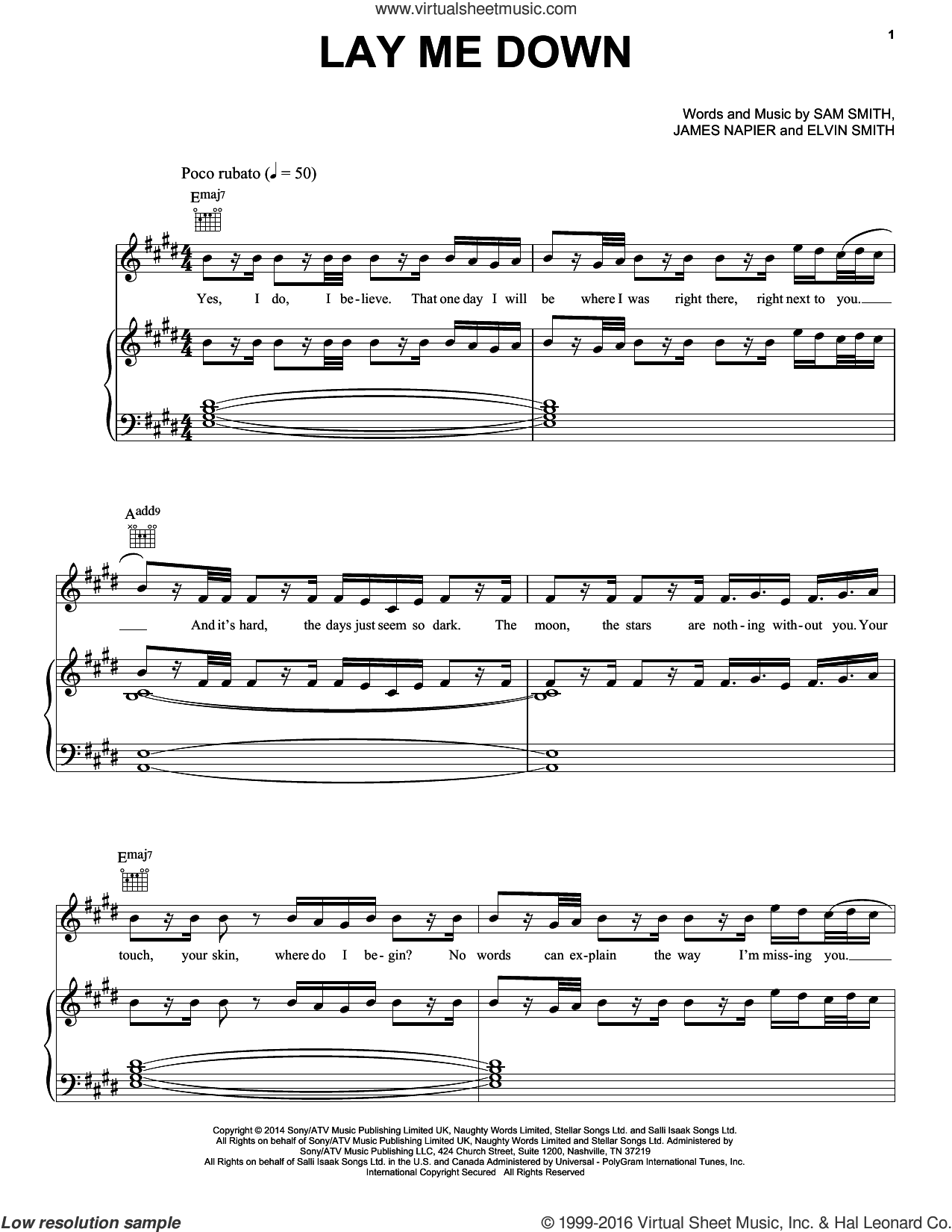 Lay Me Down sheet music for voice, piano or guitar by Sam Smith, Elvin Smith and James Napier, intermediate skill level