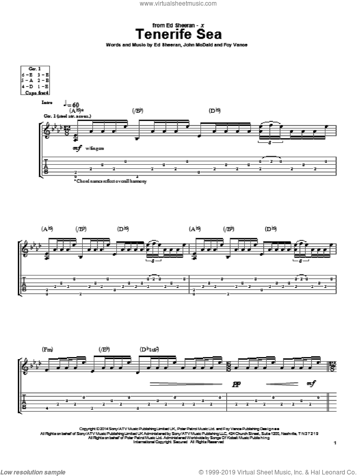 Tenerife Sea sheet music for guitar (tablature) by John McDaid, Ed Sheeran and Foy Vance. Score Image Preview.