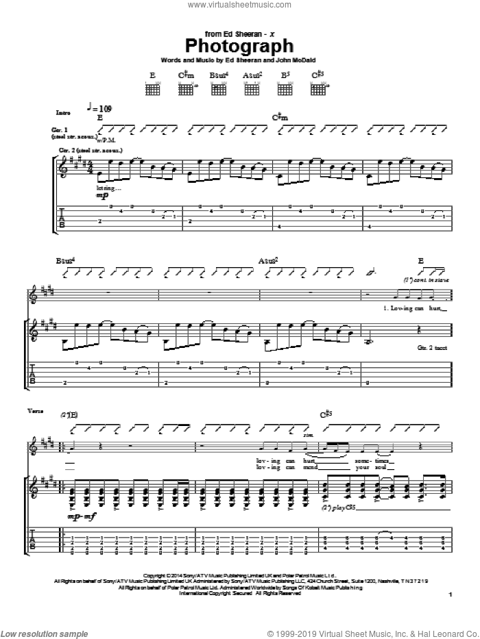 Photograph sheet music for guitar (tablature) by John McDaid and Ed Sheeran. Score Image Preview.