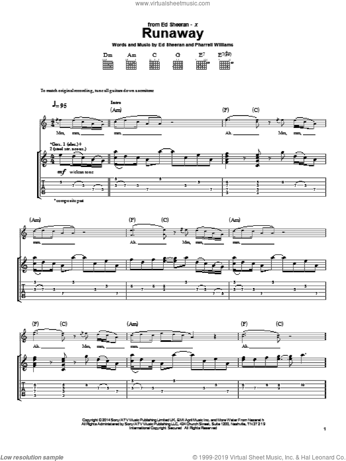 Runaway sheet music for guitar (tablature) by Pharrell Williams and Ed Sheeran. Score Image Preview.