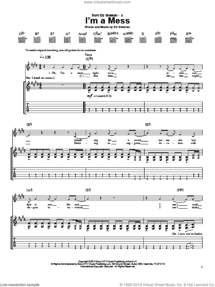 I'm A Mess sheet music for guitar (tablature) by Ed Sheeran, intermediate skill level